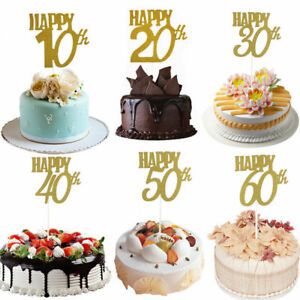Happy-30-40-50-60th-Cake-Toppers-Anniversary-Party-Cupcake-Toppers-Supplies-New