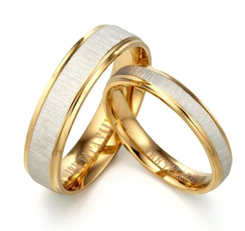 Engrave Any Word 18K Yellow Gold Wedding Rings AA30093