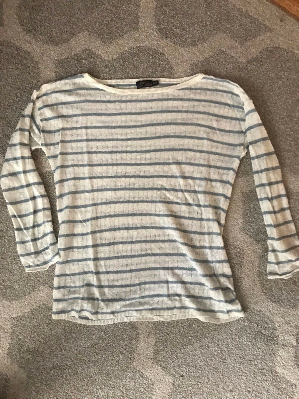 Women's Polo Ralph Lauren Striped Linen Sweater Size M