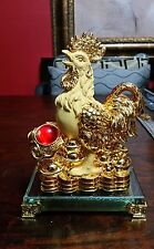 8 Inch Golden Rooster Statue with Ru Yi Chinese New Year