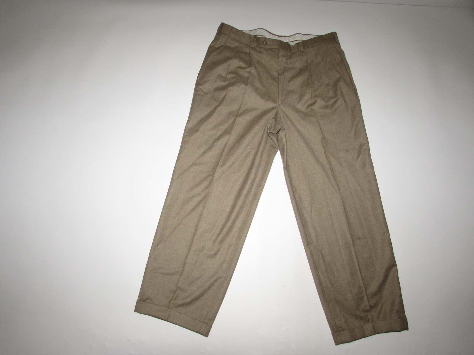 Biella G. Vasta Men's Dress Pants 35 x 27.5 Light Brown Lgold Piana Wool Cashmere