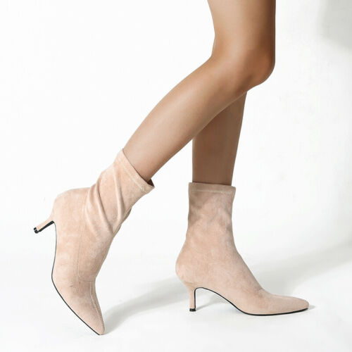 Womens Ankle Boots Faux Suede Stiletto Mid Heel Pointed Toe Pull Up Casual Shoes