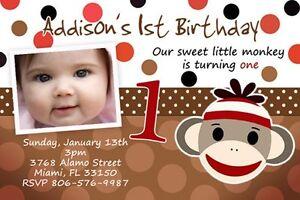 Details About SOCK MONKEY BIRTHDAY PARTY INVITATION PHOTO 1ST CUSTOM C1 CARD