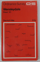 1967 old vintage OS Ordnance Survey seventh series one-inch Map 90 Wensleydale