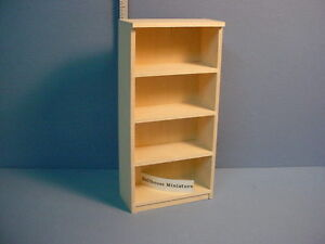 "Dollhouse Miniature Bookshelf #H800 Handcrafted Unpainted.1/2"" (1:24) Scale"