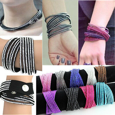 New Women Multi-Layer Rhinestone Crystal Cuff Bangle Wrap Wrist Leather Bracelet