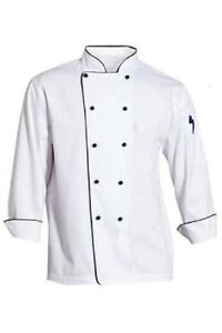 CHEFS JACKET CHEF WHITE AND BLACK WITH PIPING COAT CHEFWEAR UNISEX ... 5a83a055bbc5