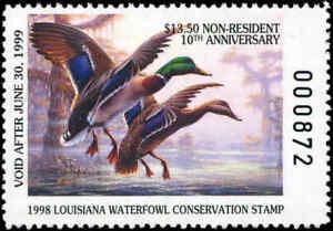 LOUISIANA #10A 1998 NON-RES STATE DUCK STAMP MALLARD By R.C. Davis