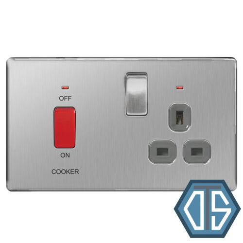 BG en acier brossé Screwless 45 Amp DP Cuisinière Switch Socket FBS70G Gris Flatplate