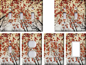 Branches And Red Maple Leaves Light Switch Covers Home Decor Outlet