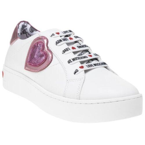 Metallic Womens Sneaker Love Heart White New Moschino Trainers Prints Leather U6qPwA
