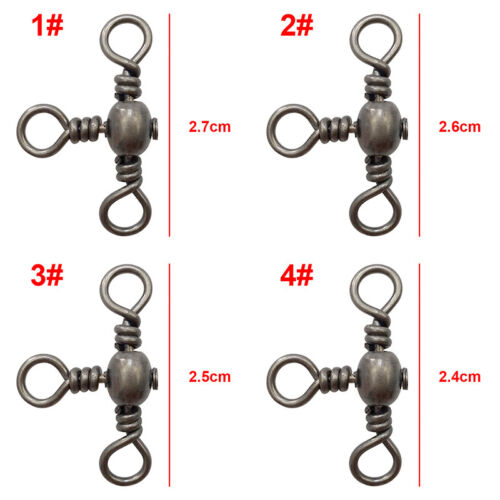 100pcs 3 Way Barrel Cross Line Fishing Swivel With Solid Ring Connector 1#-12#