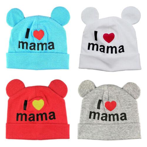 Mode Baby Kinder Hut Neugeborenen Baumwolle I Love Mama Druck Caps Hüte Mützen