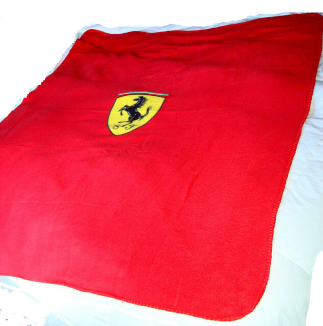 Ferrari Fleece Throw Blanket Red With Shield