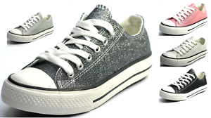 New-Womens-Girls-Glitter-Lace-Up-Canvas-Shoes-Casual-Walking-Sneakers-5-Colors