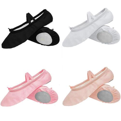 Women Ladies Ballet Shoes Canvas Yoga Gymnastic Split Sole Adults Size 1-8