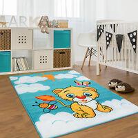 Kinderteppich Kinderzimmer Moda Löwe Sonne Schmetterling Blau Gelb Creme Öko Tex