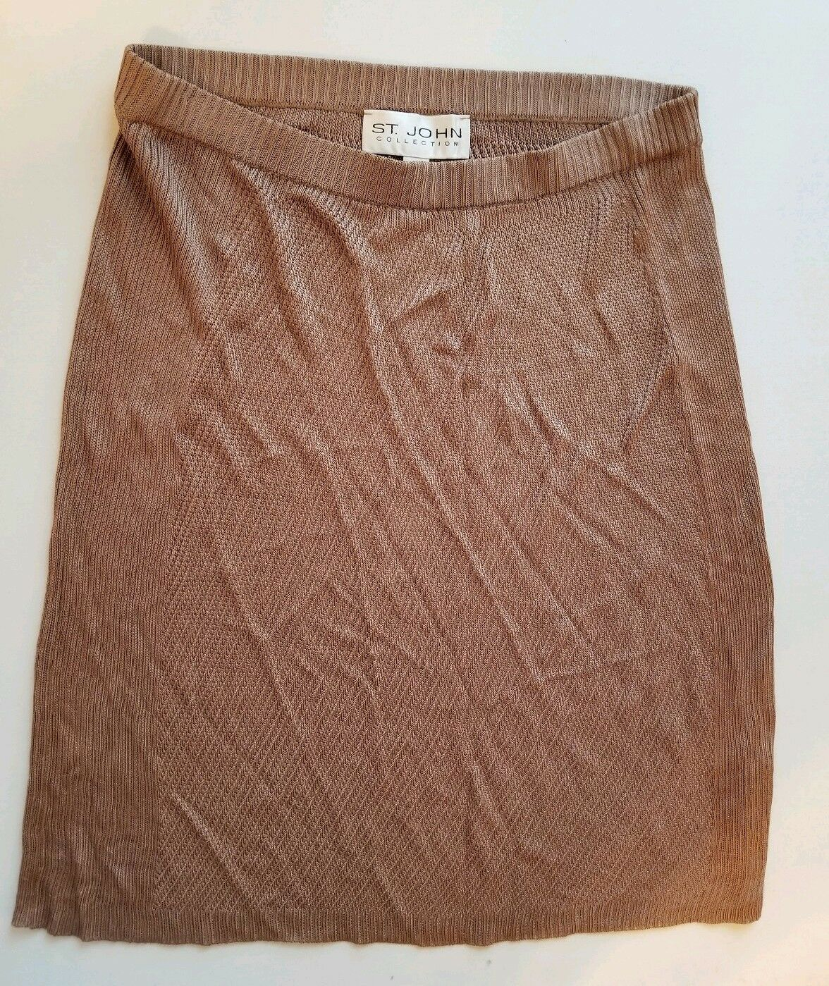 St. John Collection Beige Brown Ribbed Knit Skirt Womens Size 6
