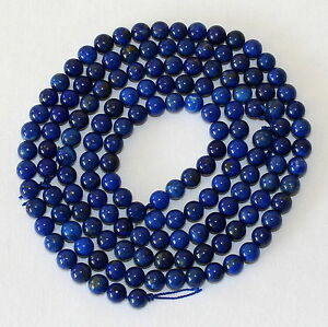 """6mm Natural Lapis Lazuli With Pyrite Inclusions 15/"""" Strand Oz Seller"""