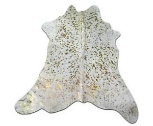Acid Wash Gold Metallic cowhide rug