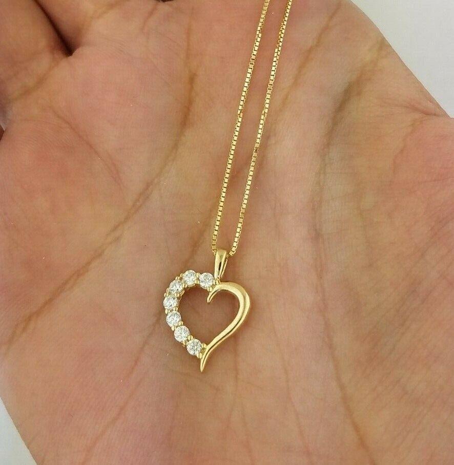 0.10 CT 14K Solid Yellow gold Diamond Heart Pendant Charm 0.6 MM Box Chain