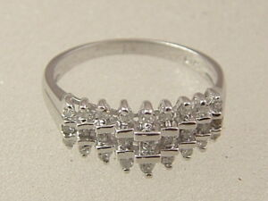 10 Karat Diamond Ring 10k White Gold Ladies 3 Row Pyramid 1 3 Carat Diamond Ring Ebay