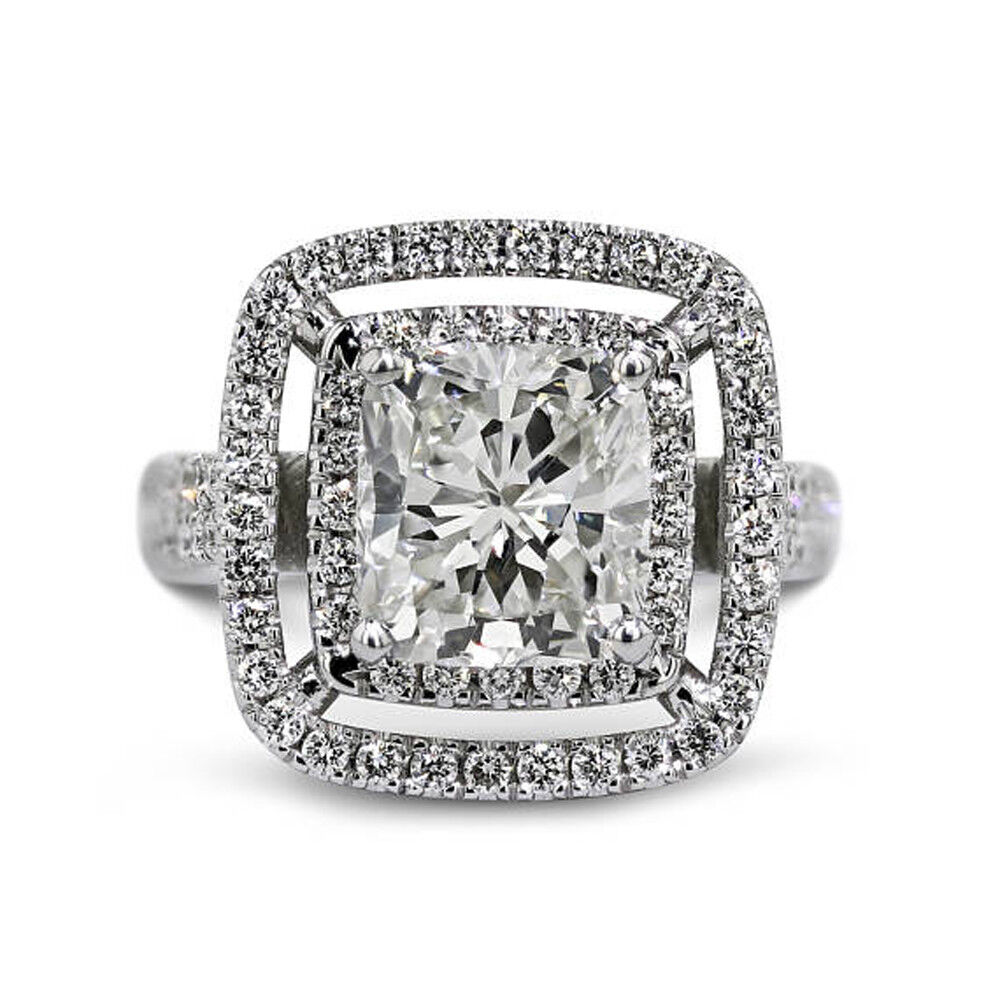 14K White gold 3.00 Ct VVS1 Cushion Cut Solitaire Diamond Wedding Ring Size 6 2