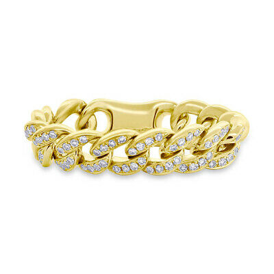 cbd91fc6c3f7c 0.20CT 14K Yellow Gold Natural Diamond Flexible Braided Cable Chain Link  Ring | eBay