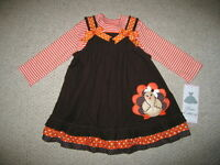 turkey Stripes Thanksgiving Day Dress Girls 24m Fall Clothes Outfit Baby