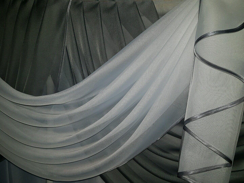 Querbehang, Deko-Gardine Deko-Gardine Deko-Gardine  grau   weiss 2,50 m breit 1c1cf3