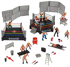 32-Pieces-2-Mini-Wrestling-Ring-Playset-with-Figures-Wrestlers-and-Accessories