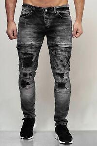 JEANS-Uomo-Biker-Jeans-Pantaloni-NERO-DESTROYED-Stonewash-Denim-Slim-John-Kayna