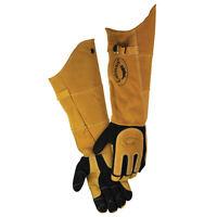 Caiman 1878 21 Long Welding Gloves, Padded Arm Deerskin, Heat Shield, X-large