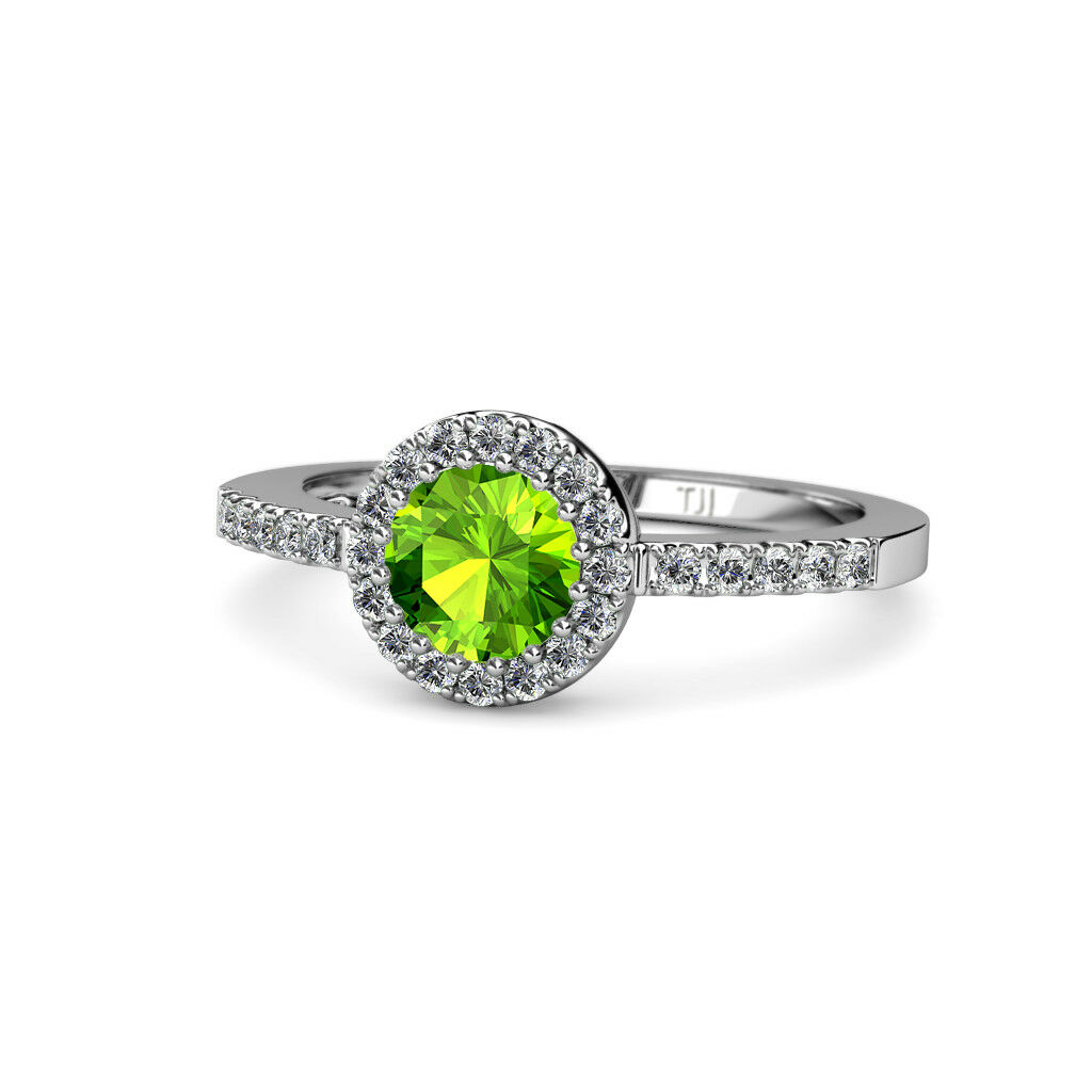 Peridot and Diamond Halo Engagement Ring 1.66 Carat tw in 14K gold JP 55274