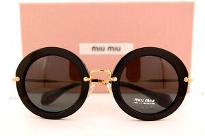 d8749dabf758 Brand New Miu Miu Sunglasses MU 13N 13NS 1AB1A1 BLACK GREY For Women ...