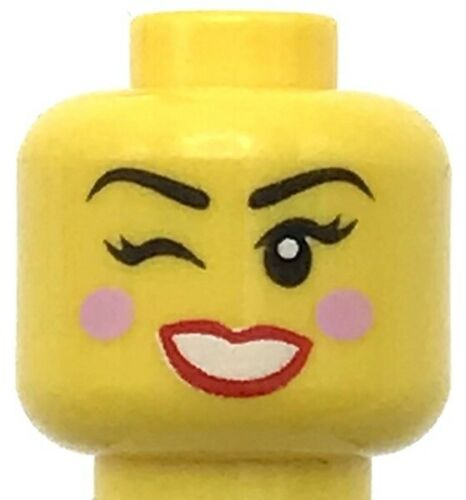 Lego New Yellow Minifigure Head Dual Sided Female Black Eyebrows Bright Pink