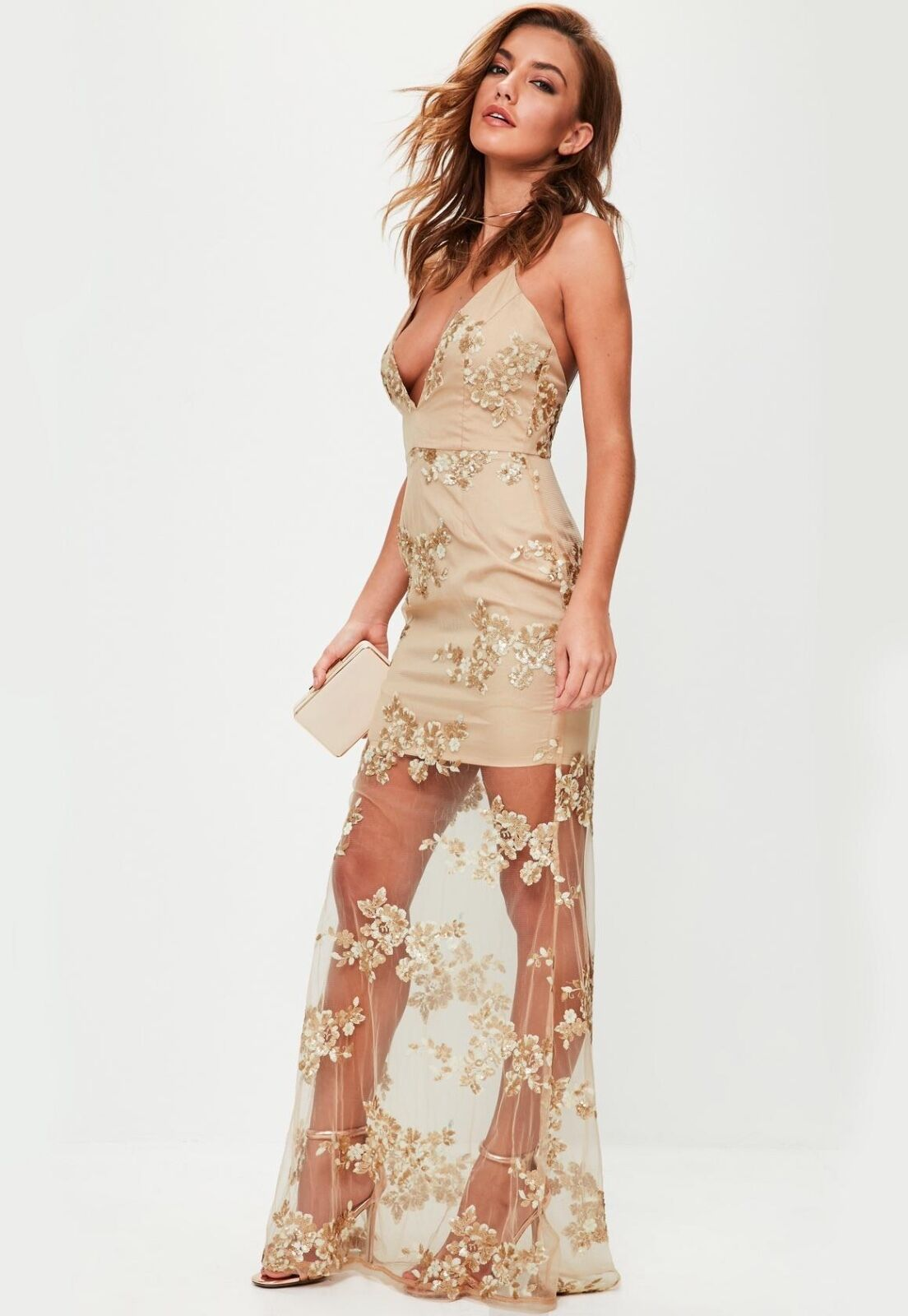 Missguided nude emb. plunge maxi dress sheer bling see thru wedding Birthday