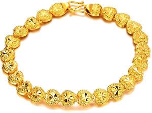 24k-Yellow-Gold-Linked-Hearts-Chain-Bracelet-Women-039-s-Small-7-034-Gift-Pkg-D149C