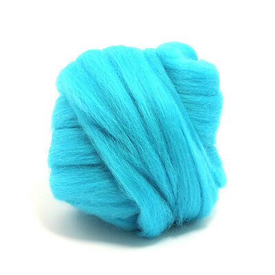 100g DYED MERINO WOOL TOP TURQUOISE BLUE DREADS 64's SPINNING FELTING ROVING