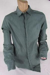 Emporio-Armani-Men-Green-White-Squares-Plaid-Classic-Dress-Shirt-Long-Sleeves-XL