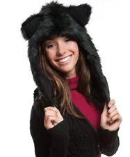 Crazy Black Cat Wolf Faux Fur Animal Hat Hood Winter Ski Snow Pet Plush Warn NEW