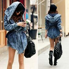 US STOCK - Women`s Denim Trench Coat Hoodie Outerwear Hooded Jeans Coat Jacket