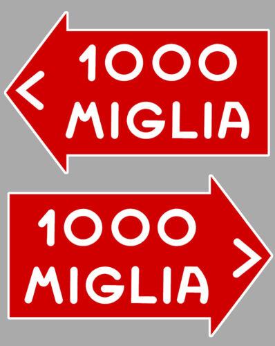 1000 MILLE MIGLIA RACING  2 X AUTOCOLLANTS STICKER 10cm MA030