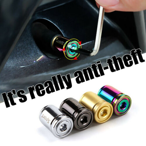 Details about  /4pc//lot Anti-theft Metal Tire Valve Caps for Car Motorcycle Valve Stem CoverSJWM