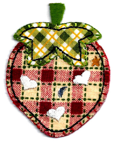 Strawberry Iron On Applique Patch Fruit Plaid W//Embroidered White Hearts