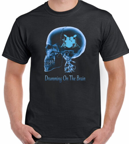 Drumming On The Brain Mens Funny Drum T-Shirt Drums Drummer Kit Sticks Cymbals