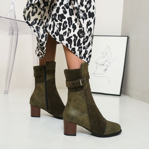 Details about  /New Women Patchwork Pattern Buckle Block Heel Casual Anke Boots Pumps Feng8