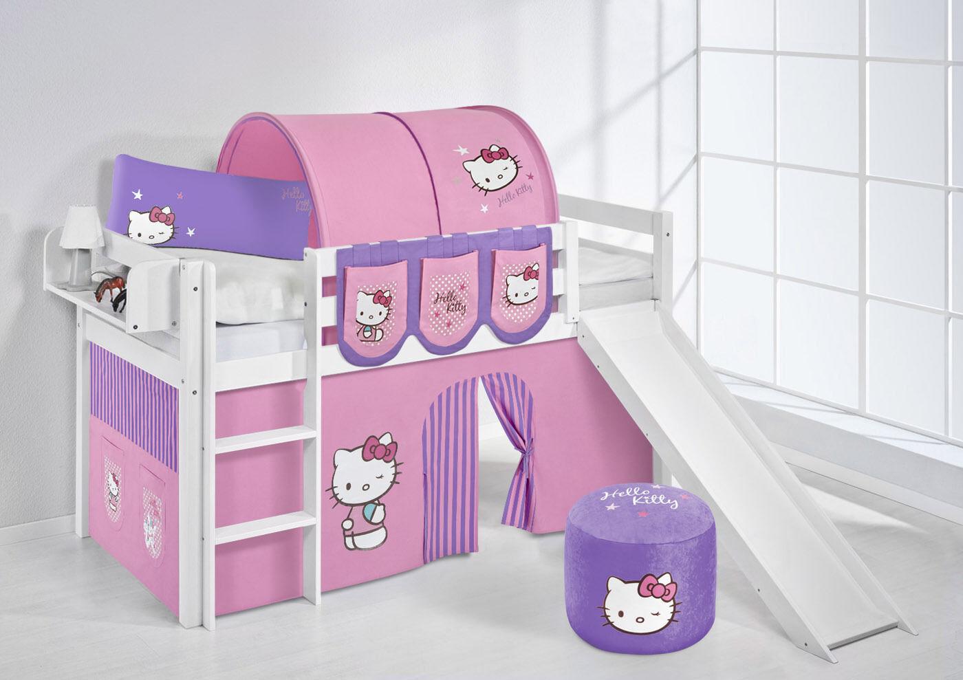 Lit Mezzanine de Jelle 190x90 Blanc avec Toboggan Enfants Lilo Hello Kitty Mauve