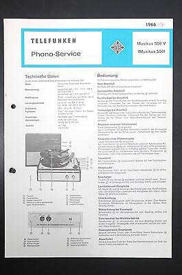 2019 Neuestes Design Telefunken Musikus 506 V Phono-service/information/schaltbild! O44