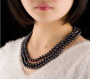 Superb-longer-60-6-9mm-Natural-Tahitian-genuine-black-round-pearl-necklace
